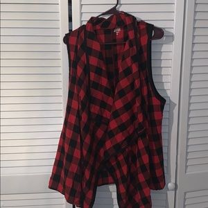 Red and black lumber jack checked vest
